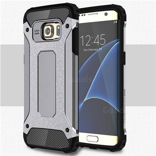 King Kong Armor Premium Shockproof Dual Layer Rugged Hard Cover for Samsung Galaxy S7 Edge s7edge - Silver Grey
