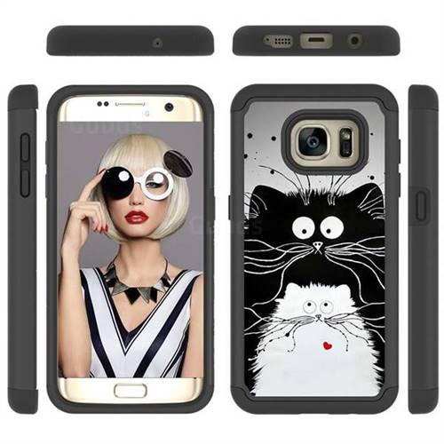 Black and White Cat Shock Absorbing Hybrid Defender Rugged Phone Case Cover for Samsung Galaxy S7 Edge s7edge