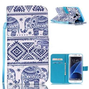 Elephant Tribal Leather Wallet Case for Samsung Galaxy S7 Edge G935