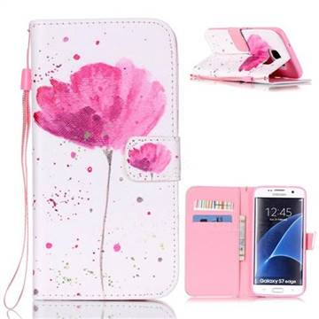Watercolor Flower Leather Wallet Case for Samsung Galaxy S7 Edge G935