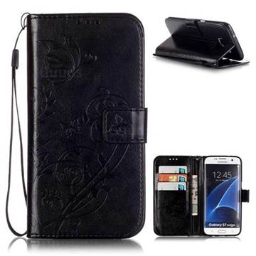 Embossing Butterfly Flower Leather Wallet Case for Samsung Galaxy S7 Edge - Black