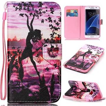 newest b587f 0e5ad Butterfly Girl Leather Wallet Phone Case for Samsung Galaxy S7 Edge