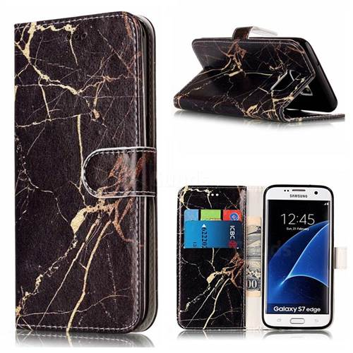 Black Gold Marble PU Leather Wallet Case for Samsung Galaxy S7 Edge G935