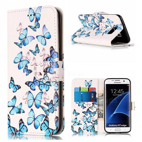 Blue Vivid Butterflies PU Leather Wallet Case for Samsung Galaxy S7 Edge G935