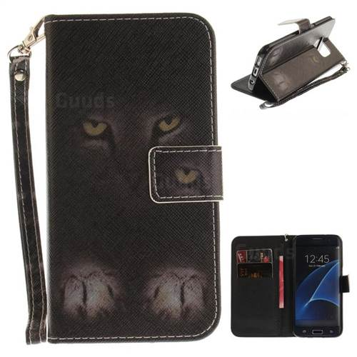 Mysterious Cat Hand Strap Leather Wallet Case for Samsung Galaxy S7 Edge s7edge