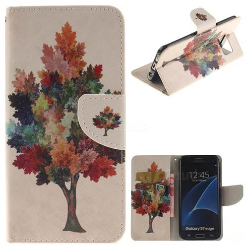 Colored Tree PU Leather Wallet Case for Samsung Galaxy S7 Edge s7edge