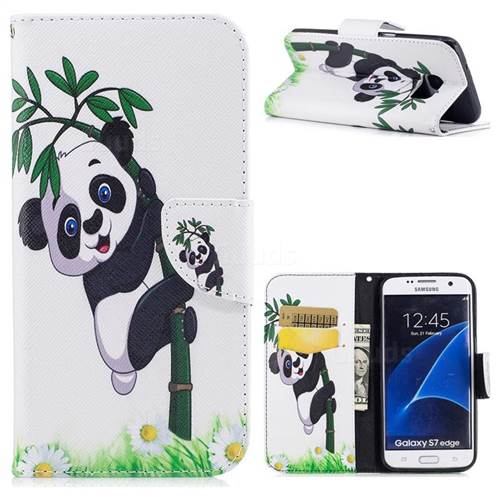 Bamboo Panda Leather Wallet Case for Samsung Galaxy S7 Edge s7edge
