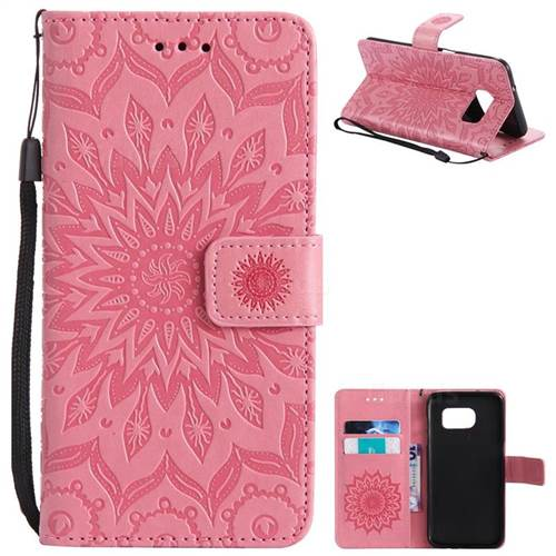 Embossing Sunflower Leather Wallet Case for Samsung Galaxy S7 Edge s7edge - Pink
