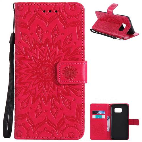 Embossing Sunflower Leather Wallet Case for Samsung Galaxy S7 Edge s7edge - Red