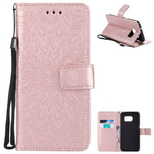 Embossing Sunflower Leather Wallet Case for Samsung Galaxy S7 Edge s7edge - Rose Gold