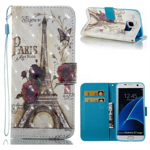 Flower Eiffel Tower 3D Painted Leather Wallet Case for Samsung Galaxy S7 Edge s7edge