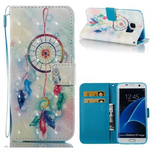 Feather Wind Chimes 3D Painted Leather Wallet Case for Samsung Galaxy S7 Edge s7edge