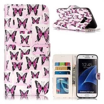 Butterflies Stickers 3D Relief Oil PU Leather Wallet Case for Samsung Galaxy S7 Edge s7edge