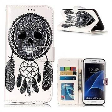 Wind Chimes Skull 3D Relief Oil PU Leather Wallet Case for Samsung Galaxy S7 Edge s7edge