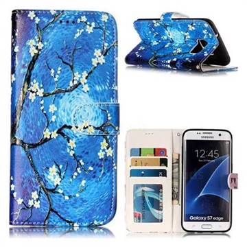 Plum Blossom 3D Relief Oil PU Leather Wallet Case for Samsung Galaxy S7 Edge s7edge