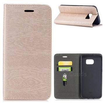 Tree Bark Pattern Automatic suction Leather Wallet Case for Samsung Galaxy S7 Edge s7edge - Champagne Gold