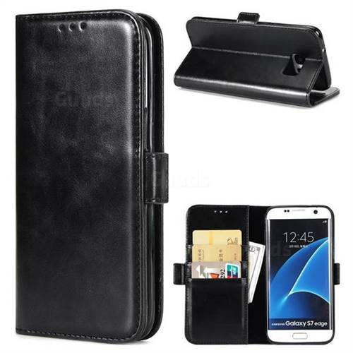Luxury Crazy Horse PU Leather Wallet Case for Samsung Galaxy S7 Edge s7edge - Black