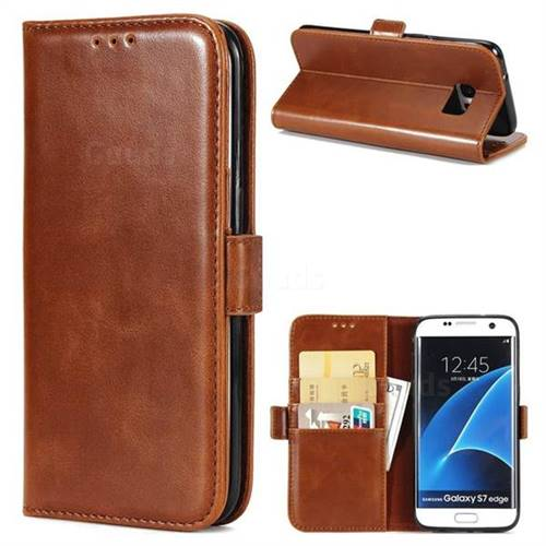 Luxury Crazy Horse PU Leather Wallet Case for Samsung Galaxy S7 Edge s7edge - Brown