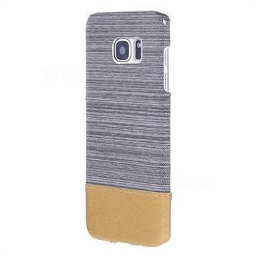 Canvas Cloth Coated Plastic Back Cover for Samsung Galaxy S7 Edge s7edge - Light Grey