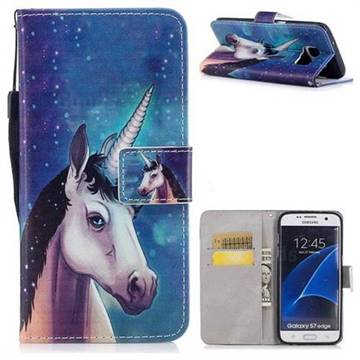 Blue Unicorn PU Leather Wallet Case for Samsung Galaxy S7 Edge s7edge