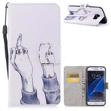 Middle Finger PU Leather Wallet Case for Samsung Galaxy S7 Edge s7edge