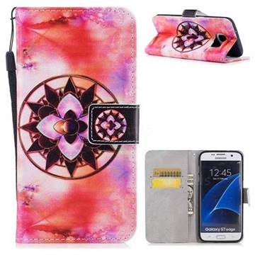 Red Mandala PU Leather Wallet Case for Samsung Galaxy S7 Edge s7edge