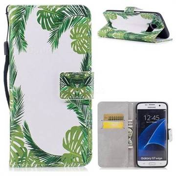 Green Leaves PU Leather Wallet Case for Samsung Galaxy S7 Edge s7edge