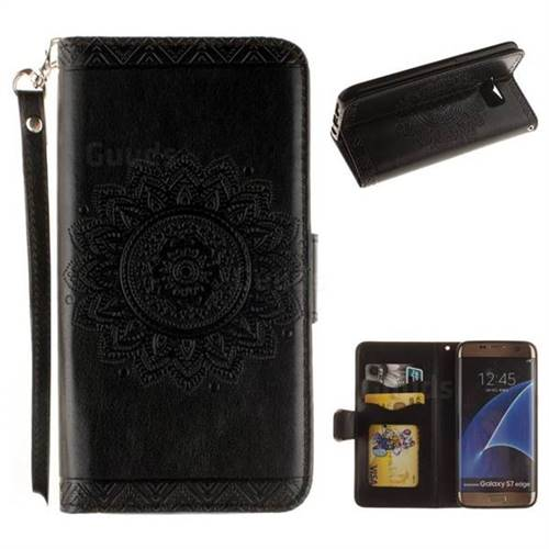 Embossed Datura Flower PU Leather Wallet Case for Samsung Galaxy S7 Edge s7edge - Black