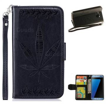Intricate Embossing Maple Leather Wallet Case for Samsung Galaxy S7 Edge s7edge - Black
