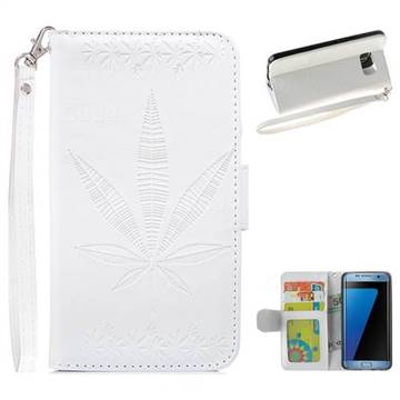 Intricate Embossing Maple Leather Wallet Case for Samsung Galaxy S7 Edge s7edge - White