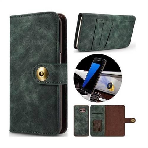 Luxury Vintage Split Separated Leather Wallet Case for Samsung Galaxy S7 Edge s7edge - Dark Green