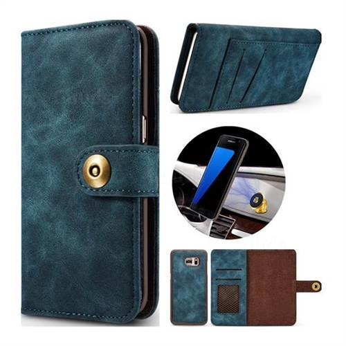 Luxury Vintage Split Separated Leather Wallet Case for Samsung Galaxy S7 Edge s7edge - Navy Blue