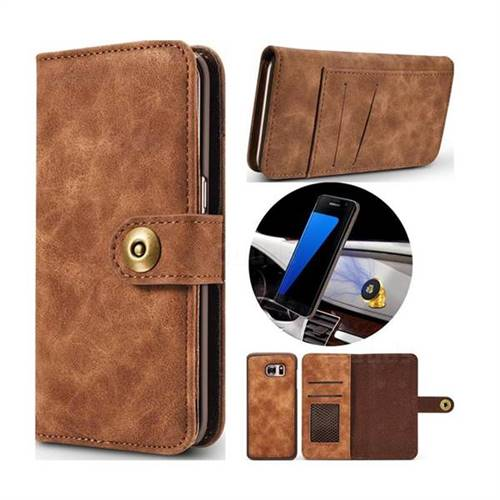 Luxury Vintage Split Separated Leather Wallet Case for Samsung Galaxy S7 Edge s7edge - Brown