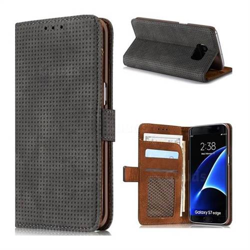 Luxury Vintage Mesh Monternet Leather Wallet Case for Samsung Galaxy S7 Edge s7edge - Black