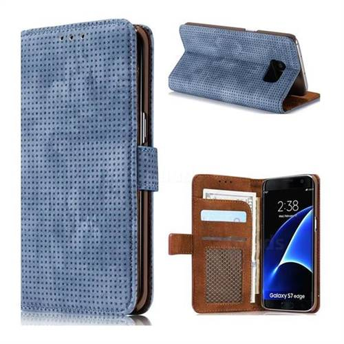 Luxury Vintage Mesh Monternet Leather Wallet Case for Samsung Galaxy S7 Edge s7edge - Blue
