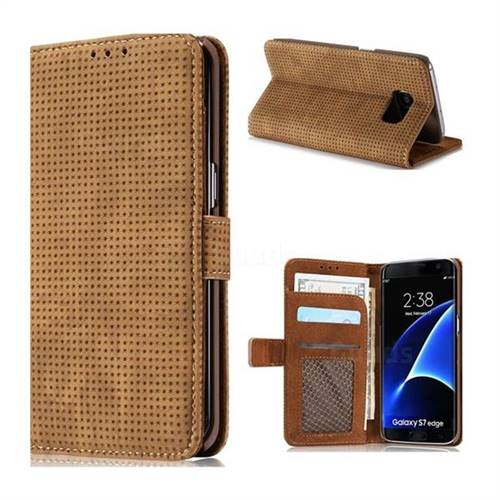 Luxury Vintage Mesh Monternet Leather Wallet Case for Samsung Galaxy S7 Edge s7edge - Brown