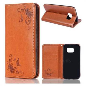Intricate Embossing Slim Butterfly Rose Leather Holster Case for Samsung Galaxy S7 Edge s7edge - Brown