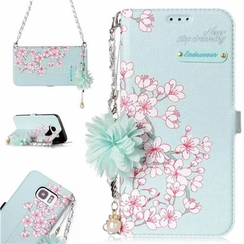 Cherry Blossoms Endeavour Florid Pearl Flower Pendant Metal Strap PU Leather Wallet Case for Samsung Galaxy S7 Edge s7edge