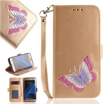 Imprint Embossing Butterfly Leather Wallet Case for Samsung Galaxy S7 Edge s7edge - Golden