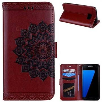 Datura Flowers Flash Powder Leather Wallet Holster Case for Samsung Galaxy S7 Edge s7edge - Brown