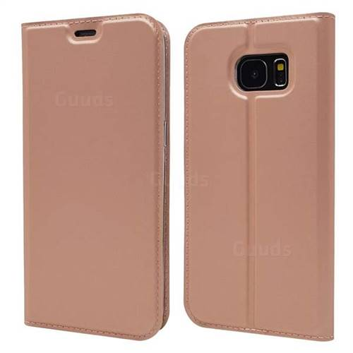 Ultra Slim Card Magnetic Automatic Suction Leather Wallet Case for Samsung Galaxy S7 Edge s7edge - Rose Gold