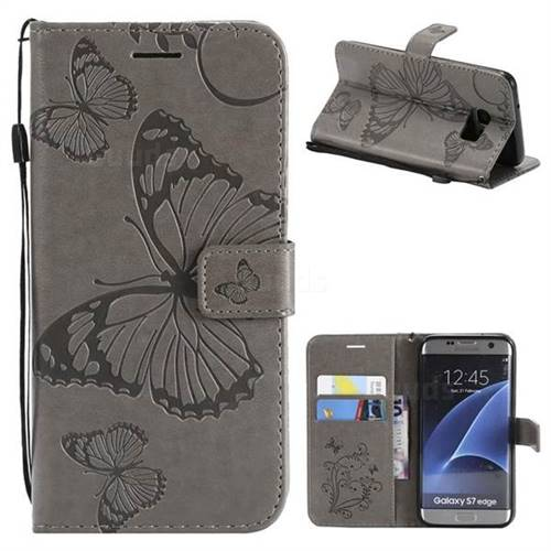 Embossing 3D Butterfly Leather Wallet Case for Samsung Galaxy S7 Edge s7edge - Gray