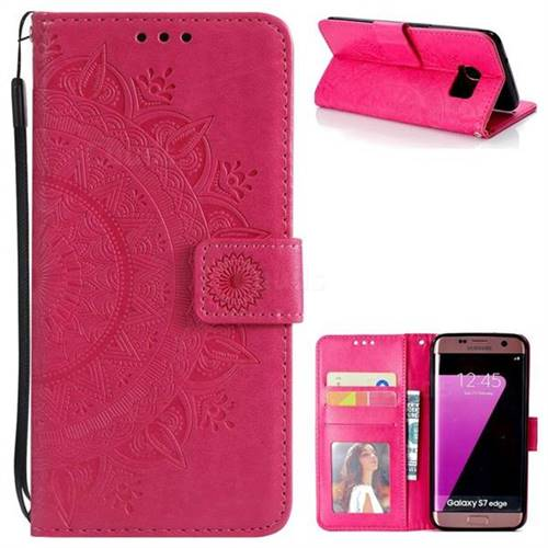 Intricate Embossing Datura Leather Wallet Case for Samsung Galaxy S7 Edge s7edge - Rose Red