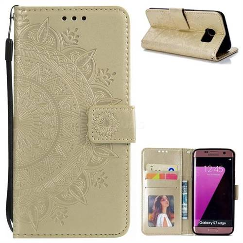 Intricate Embossing Datura Leather Wallet Case for Samsung Galaxy S7 Edge s7edge - Golden