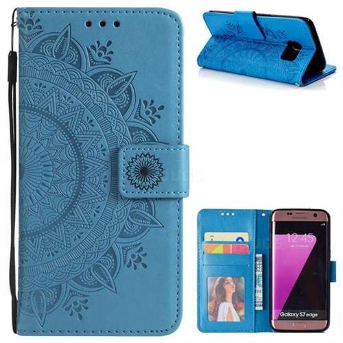 Intricate Embossing Datura Leather Wallet Case for Samsung Galaxy S7 Edge s7edge - Blue
