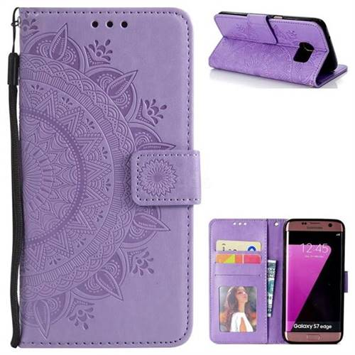 Intricate Embossing Datura Leather Wallet Case for Samsung Galaxy S7 Edge s7edge - Purple
