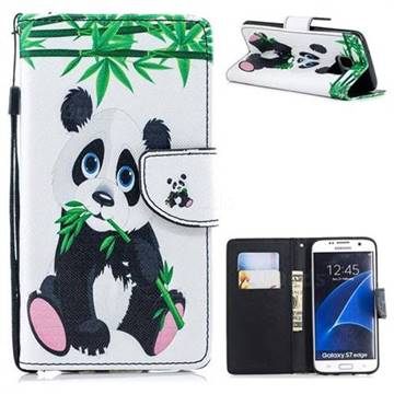 promo code a5382 84f35 Panda PU Leather Wallet Phone Case for Samsung Galaxy S7 Edge s7edge