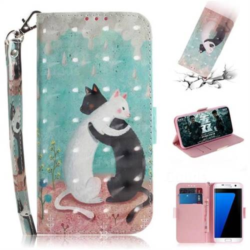 Black and White Cat 3D Painted Leather Wallet Phone Case for Samsung Galaxy S7 Edge s7edge
