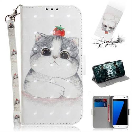 Cute Tomato Cat 3D Painted Leather Wallet Phone Case for Samsung Galaxy S7 Edge s7edge