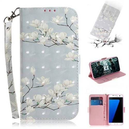 Magnolia Flower 3D Painted Leather Wallet Phone Case for Samsung Galaxy S7 Edge s7edge